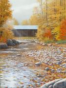 Covered Bridge Mixed Media Prints - Autumn in New England Print by Jake Vandenbrink