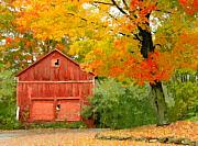 Barn Digital Art - Autumn In New England by Michael Petrizzo