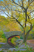 Gapstow Bridge Framed Prints - Autumn in New York Gapstow Bridge and The Pond Framed Print by Andria Patino