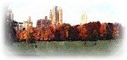 Central Park Mixed Media Prints - Autumn in New York Print by Spencer McKain