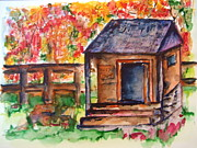 Split Rail Fence Painting Prints - Autumn in the Backwoods Print by Elaine Duras