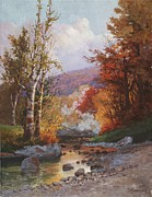 Mountain Stream Paintings - Autumn in the Berkshires by Christian Jorgensen