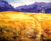 Visionary Artist Painting Originals - Autumn in the Big Meadow by Barbara Hall