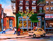 St.viateur Bagel Paintings - Autumn In The City by Carole Spandau