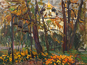 Russia Paintings - Autumn in the monastery garden by Juliya Zhukova