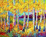 Birch Tree Paintings - Autumn Jewels by Marion Rose