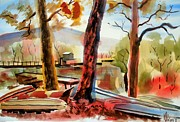 Autumn Trees Painting Posters - Autumn Jon Boats I Poster by Kip DeVore