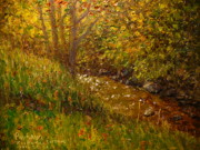 Terry Perham Art - Autumn Kaikorai Stream by Terry Perham