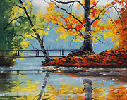 Fall Trees Posters - Autumn Lake Poster by Graham Gercken