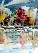 Clouds Mixed Media Originals - Autumn Lake by Mindy Newman