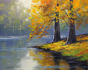 Water Reflections Paintings - Autumn Lake Print by Graham Gercken