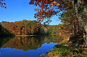 Indiana Autumn Prints - Autumn Lake Print by Randall Tishner
