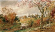 Tree Leaf Painting Prints - Autumn Landscape Print by Jasper Francis Cropsey