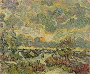 Saint Metal Prints - Autumn Landscape Metal Print by Vincent Van Gogh
