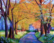 Autumn Lane Print by David Lloyd Glover