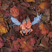 Fairies Metal Prints - Autumn Leaf Fairies Metal Print by Anne Geddes