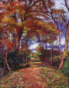 Fall Scenes Paintings - Autumn Leave Road by David Lloyd Glover
