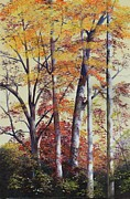Smoky Mountains Paintings - Autumn Leaves by Diana  Tyson
