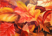 Season Painting Acrylic Prints - Autumn Leaves Acrylic Print by Irina Sztukowski