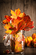 Glass Jar Posters - Autumn Leaves Still Life Poster by Christopher and Amanda Elwell