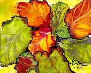 Featured Painting Prints - Autumn Leaves Print by Susan Kubes