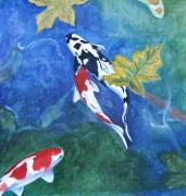 Koi Painting Posters - Autumn Leaves Poster by Tracey Hunnewell