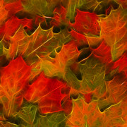 Warm Digital Art - Autumn Leaves - Version 2 - Square by Wingsdomain Art and Photography