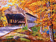 Covered Bridge Painting Metal Prints - Autumn Love Story Metal Print by David Lloyd Glover