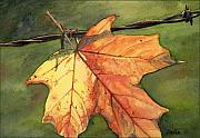 Leaf Paintings - Autumn Maple Leaf by Antony Galbraith