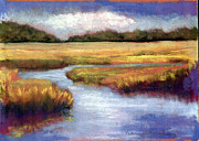 Country Scenes Pastels Prints - Autumn Marsh Print by Nancy w Rushing