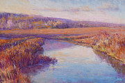 Impressionism Pastels Prints - Autumn Marshland Print by Michael Camp