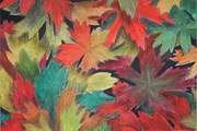 Autumn Leaves Pastels Framed Prints - Autumn Framed Print by Melissa Rhodes