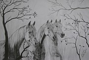 Wild Horses Drawings Originals - Autumn by Melita Safran