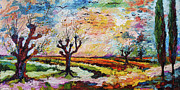 Autumn Trees Painting Posters - Autumn Migration Landscape  Poster by Ginette Fine Art LLC Ginette Callaway