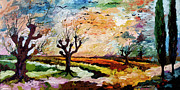 Panoramic Painting Framed Prints - Autumn Migration Panoramic Landscape Framed Print by Ginette Fine Art LLC Ginette Callaway