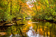Sunset Greeting Cards Prints - Autumn Mirror Print by Debra and Dave Vanderlaan