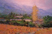 Villa Paintings - Autumn mist in Julienas France by R W Goetting
