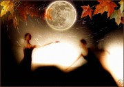 Ballet Dancers Digital Art Prints - Autumn moon dance Print by Gun Legler