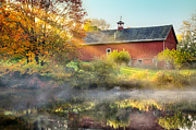 Red Barn Posters - Autumn Morn Poster by Bill  Wakeley