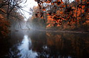 Fall Leaves Prints - Autumn Morning by Wissahickon Creek Print by Bill Cannon