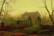 Golden Brown Painting Posters - Autumn Morning Poster by John Atkinson Grimshaw