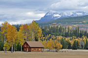 Snow-covered Landscape Prints - Autumn Mountain Cabin in Glacier Park Print by Bruce Gourley