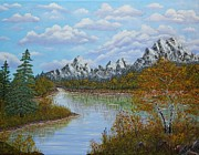 Birch Trees Originals - Autumn Mountains Lake Landscape by Georgeta  Blanaru
