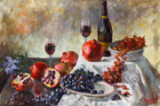 Wine Glasses Paintings - Autumn n a Flower by Ylli Haruni
