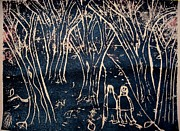 Relief Print Reliefs Prints - Autumn Night Hike Print by Ward Smith