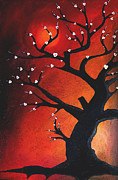 Original Oil Mixed Media - Autumn Nights - Abstract Tree Art by Fidostudio by Tom Fedro - Fidostudio