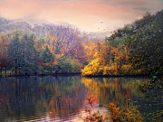 Reflections Digital Art - Autumn on a Lake by Jessica Jenney