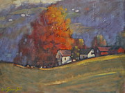 Berkshire Hills Posters Painting Originals - Autumn On Airyhill by Len Stomski