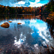 Evergreen Trees Photo Posters - Autumn on Cary Lake Poster by David Patterson