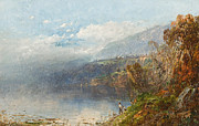 Landscape Mountain Trees Fisherman Art - Autumn on the Androscoggin by William Sonntag